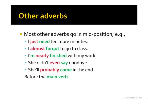 Adverbs and adverbial phrases