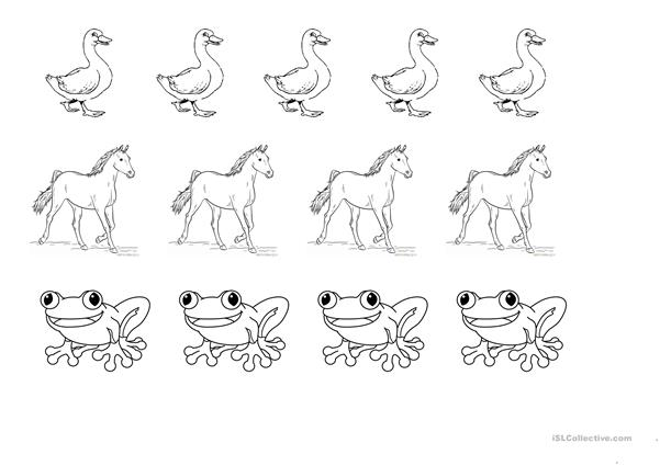 Animals colouring page