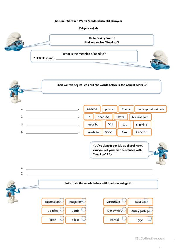 Brainy smurf helps revising modals: need to
