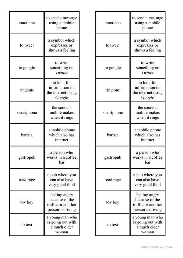 Dominoes: vocabulary related to