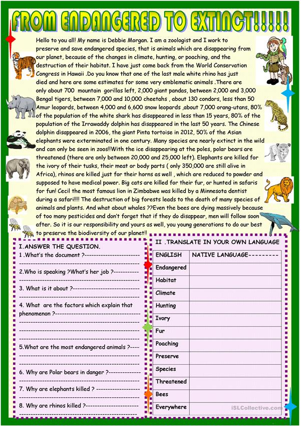 From endangered to extinct :2 page updated reading