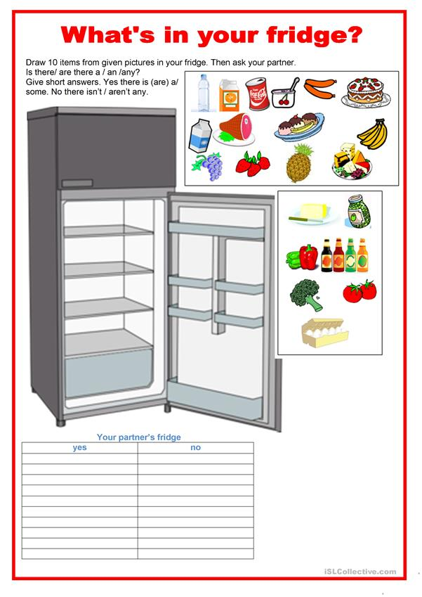 Pair work - food - What's in your fridge