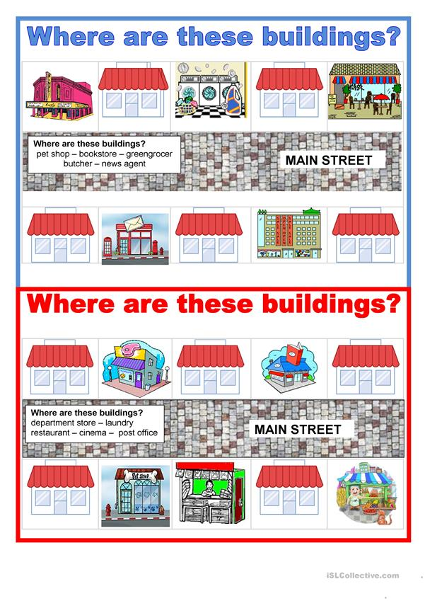 Pair work - Prepositions - Where are these buildings?