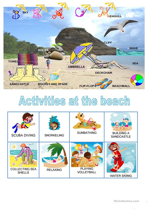 Places - Beach - activities - poster