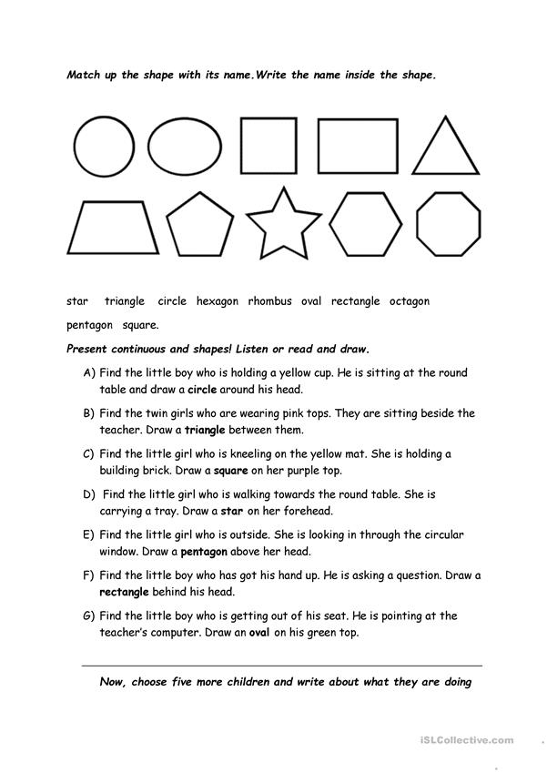 Present continuous tense practice with shapes.