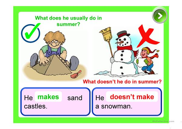 PRESENT SIMPLE - summer time (activities)