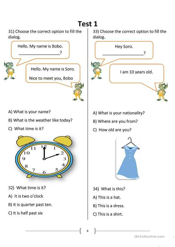 Revision test for present continuous tens, have got/ has got and basic modals