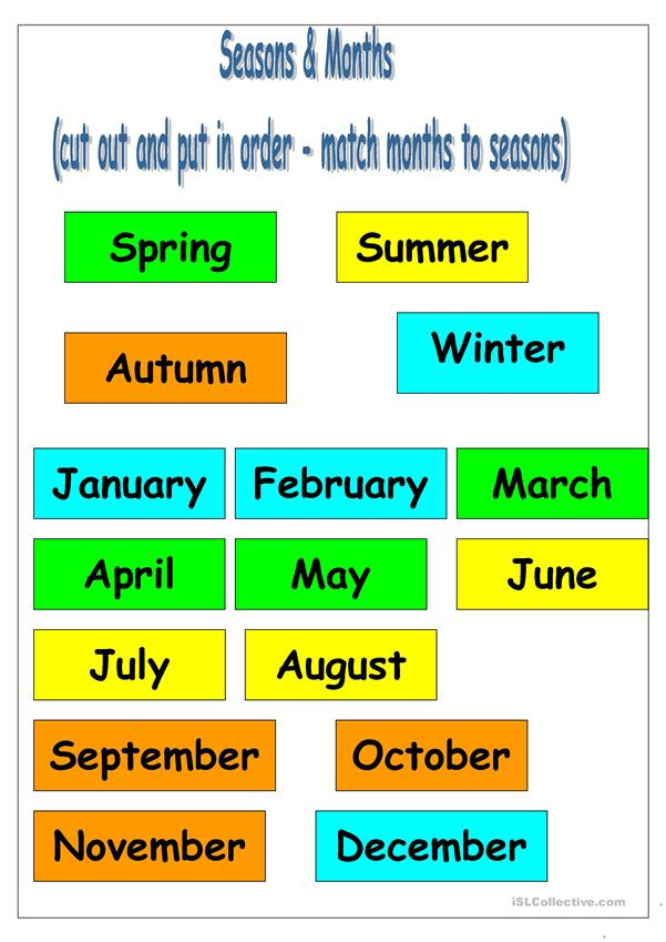 Seasons and Months Sequencing Activity