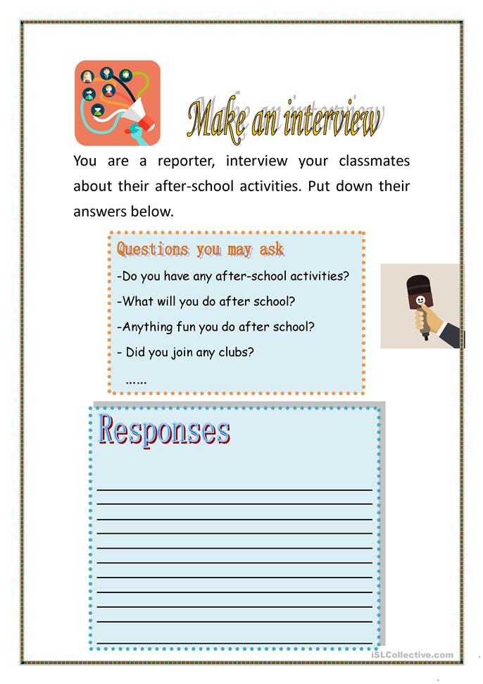 School Worksheets For Teachers : After school activities worksheet free esl printable