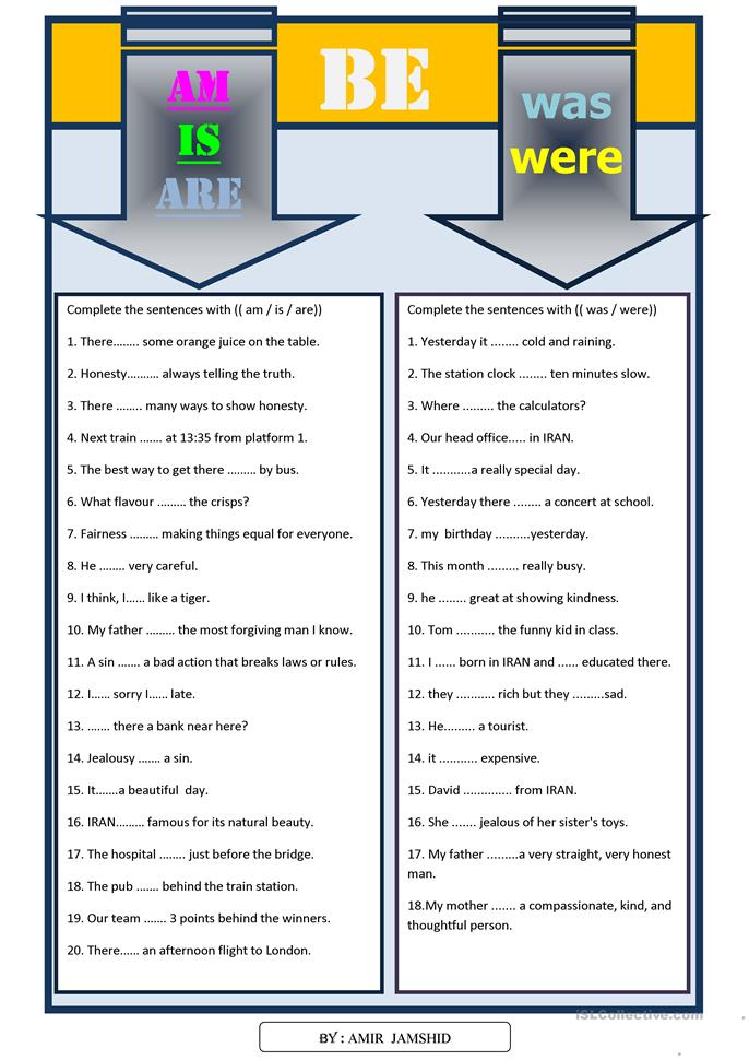 Am / is / are / was / were - ESL worksheets