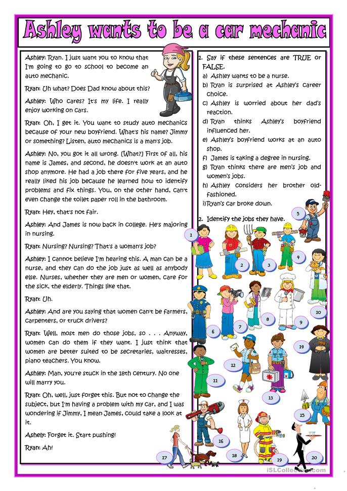 Ashley wants to be a car mechanic | FREE ESL worksheets