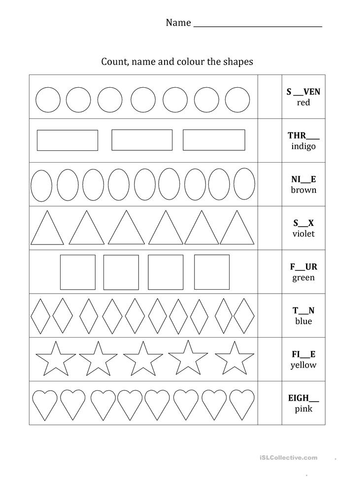 Count and colour the shapes - ESL worksheets