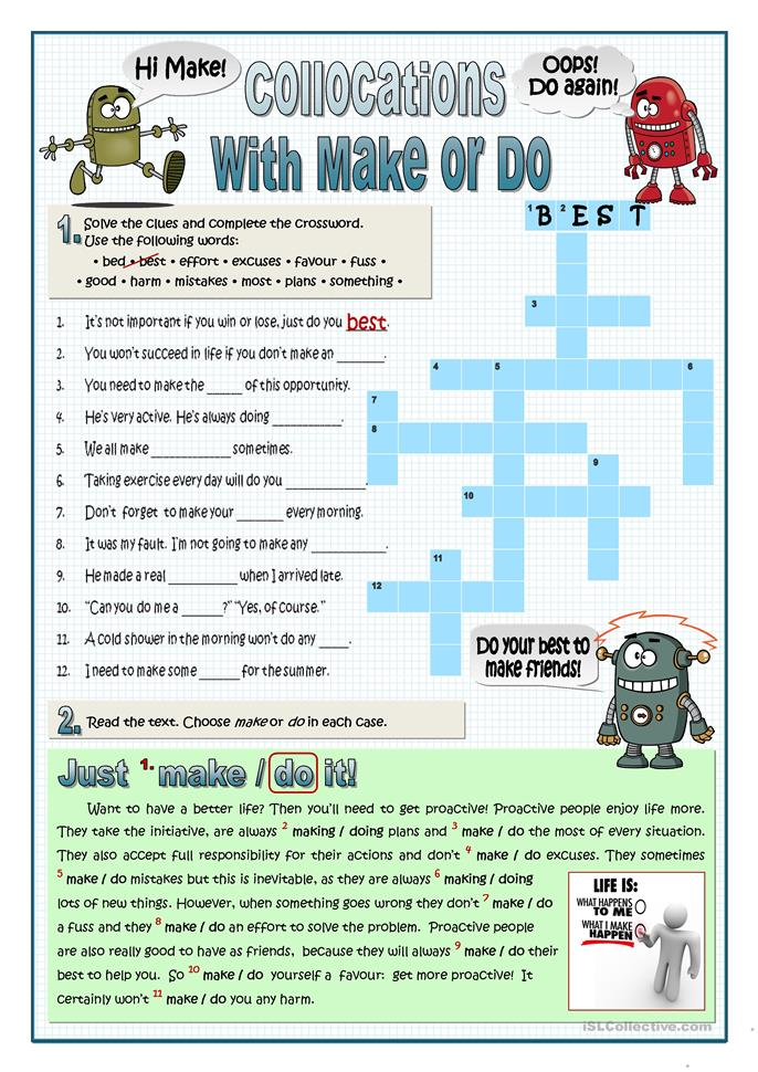 DO AND MAKE COLLOCATIONS - ESL worksheets