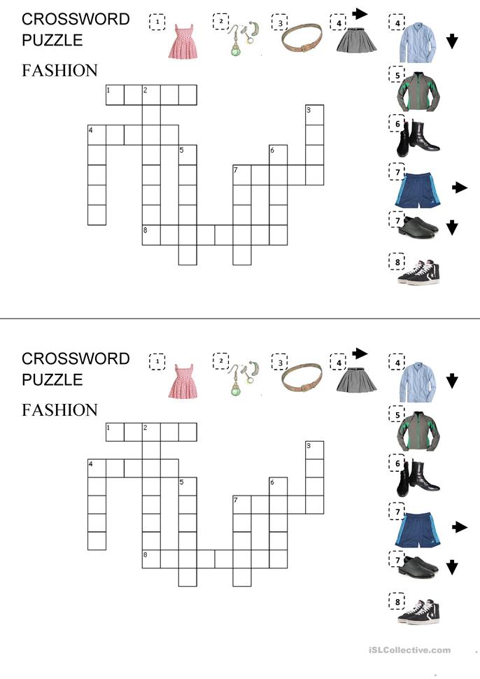 Fashion Crossword Worksheet Free Esl Printable Worksheets Made By Teachers