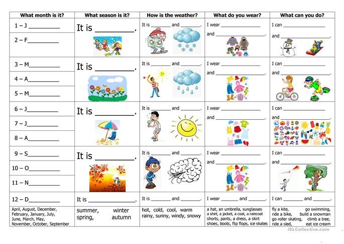 months seasons weather clothes and activities worksheet free esl printable worksheets made. Black Bedroom Furniture Sets. Home Design Ideas