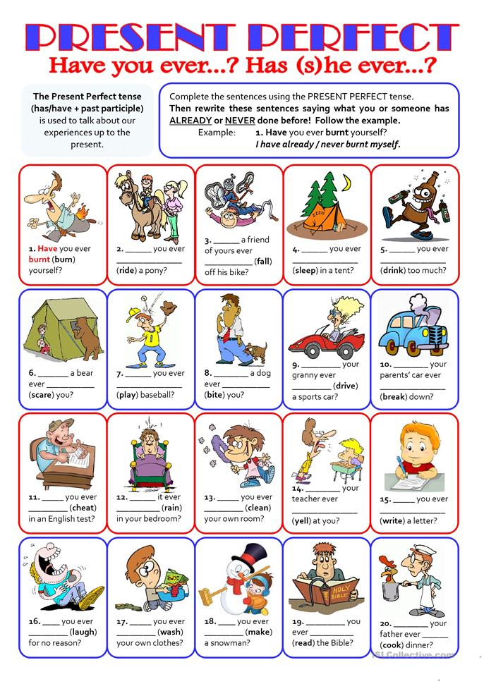 PRESENT PERFECT - Have you ever...? - ESL worksheets