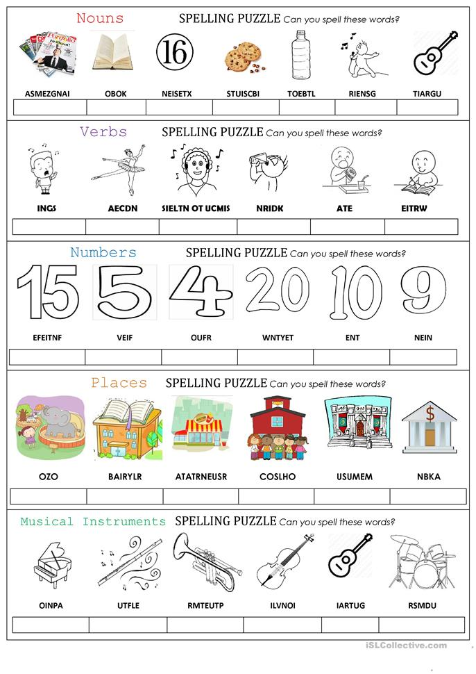 SPELLING PUZZLE  - ESL worksheets