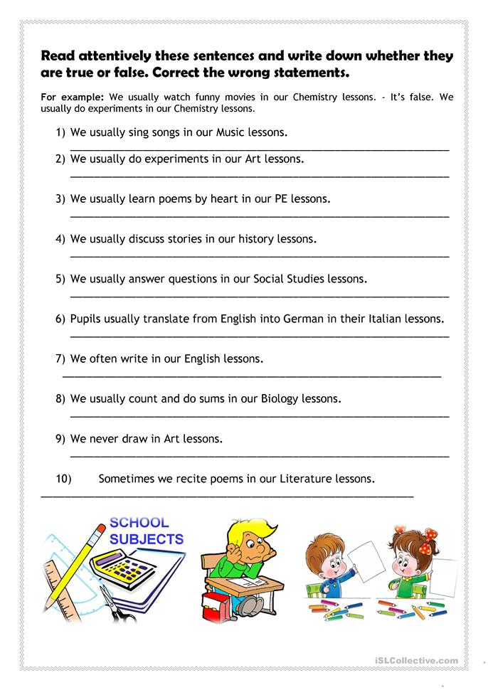 What do pupils usually do in their lessons? - ESL worksheets