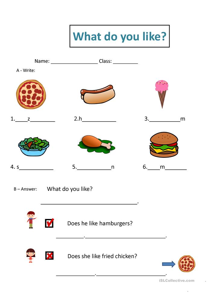 What do you like? - ESL worksheets