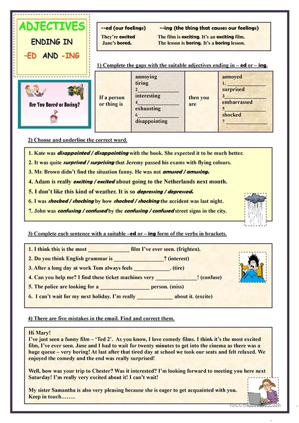 Worksheet Adjectives Ending In Ed And Ing on adding ing to words worksheet, ed endings worksheet, adjectives that end in ed,