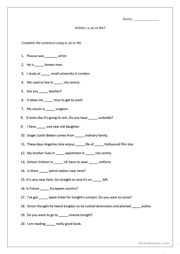 Articles worksheet (a, an, the) includes answers. - English ESL ...