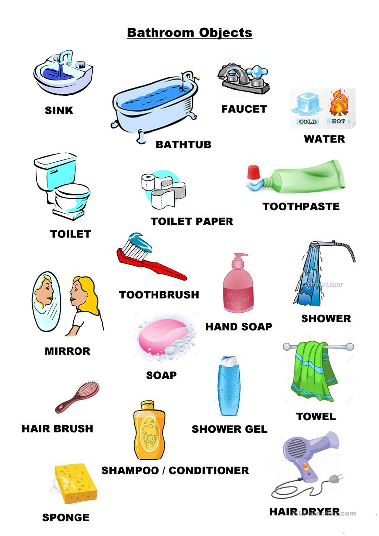 Bathroom objects worksheet - Free - 87.4KB