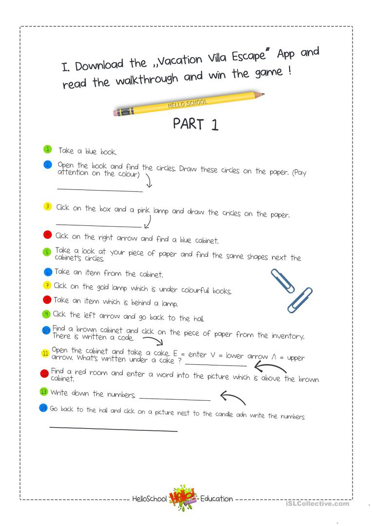 photograph relating to Free Escape Room Printable named Escape Area Sport - English ESL Worksheets