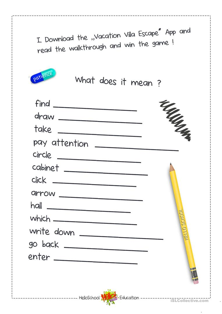 image about Printable Escape Room named Escape Place Recreation - English ESL Worksheets