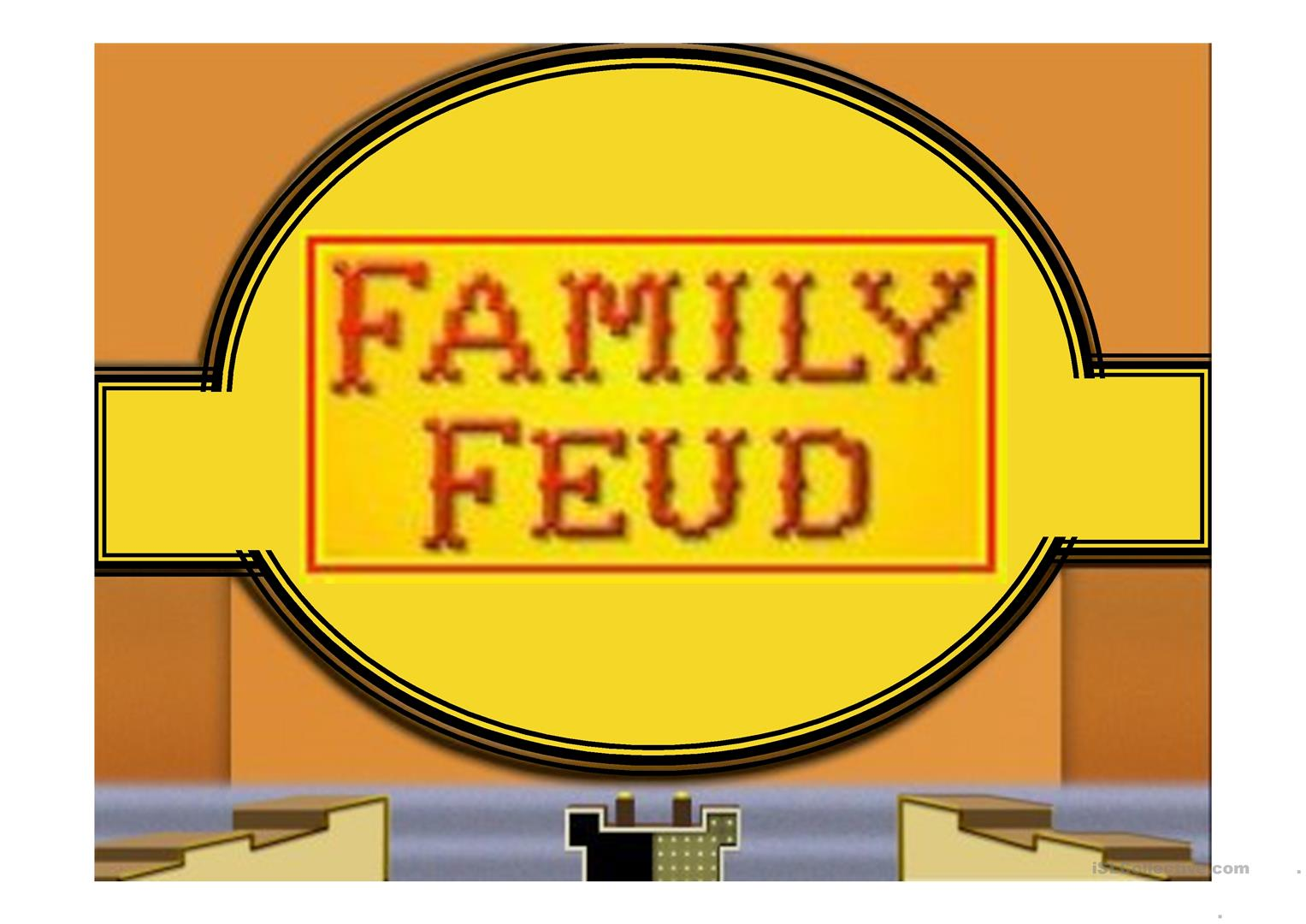 Family Feud Game Power Point Template Worksheet Free Esl