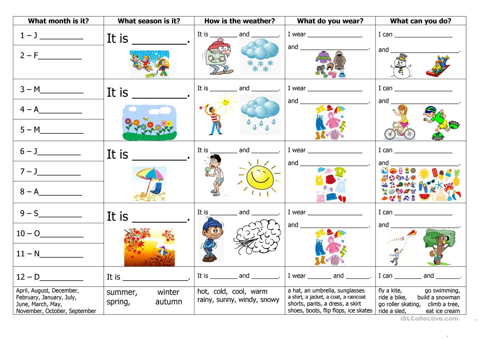 Worksheets Seasons Worksheet 207 free esl seasons worksheets months weather clothes and activities
