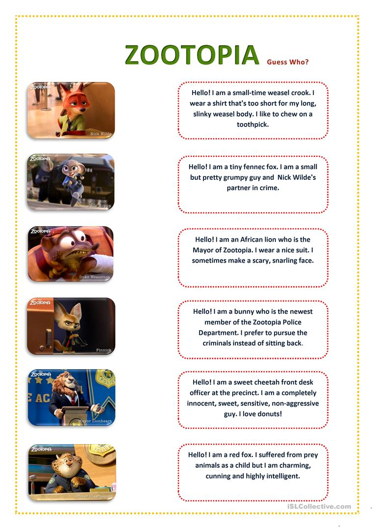 Zootopia- Guess who and grammar activities - English ESL ...