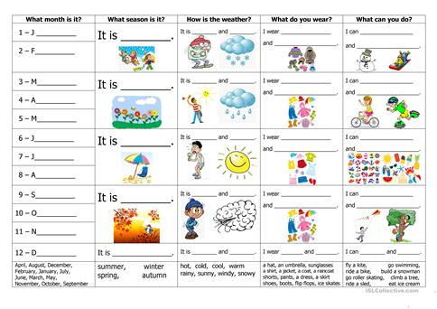 Months, seasons, weather, clothes and activities worksheet - Free ...