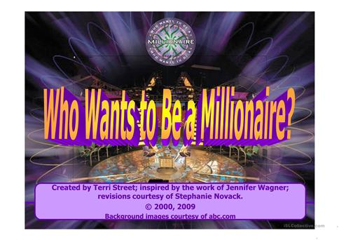 Who Wants To Be Millionaire Powerpoint Game Template Worksheet