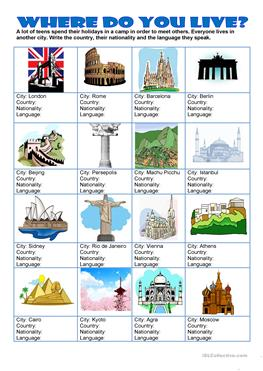 English Esl Where Do You Live Worksheets Most Downloaded 14 Results When you are getting ready to answer this topic you'd better work according to the following plan. esl where do you live worksheets