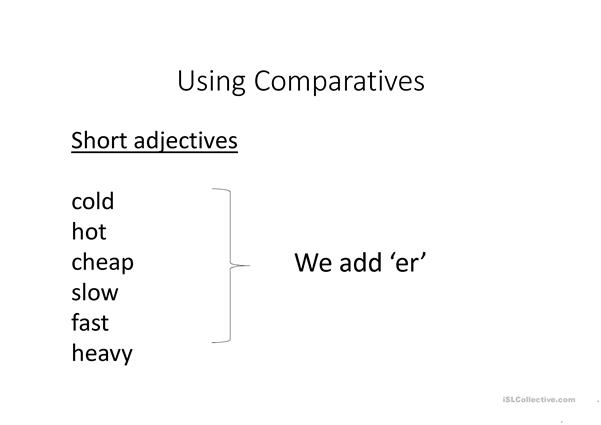 Comparatives- long and short adjectives
