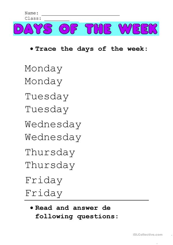 Days of the week (easy)