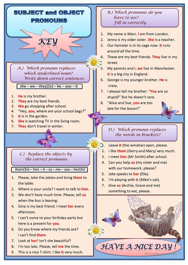 Subject and object pronouns. Exercises