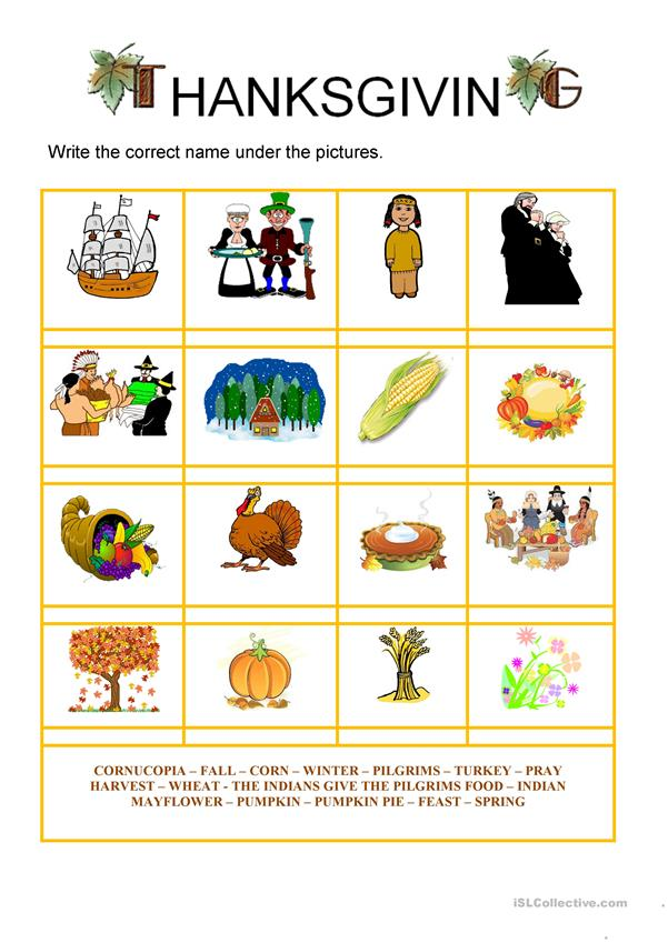 Thanksgiving - Vocabulary