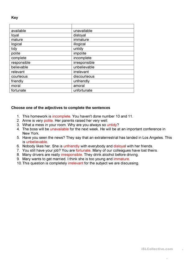 Prefixes and suffixes - Wordformation