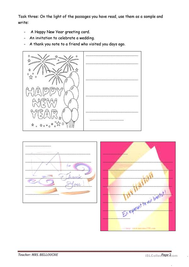 Writing Greeting card, invitations and Thank you note