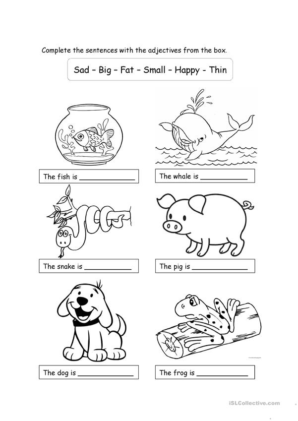 Animals and adjectives for children - English ESL Worksheets