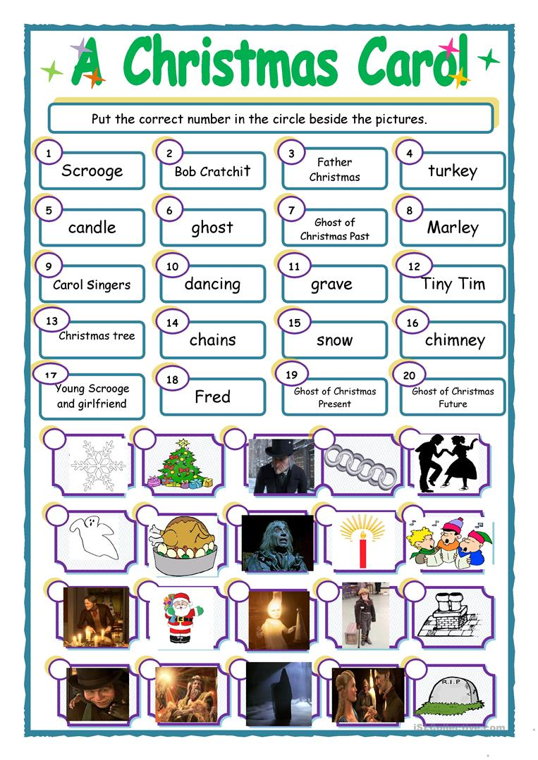 photo regarding A Christmas Carol Worksheets Printable titled A Xmas Carol game up - English ESL Worksheets
