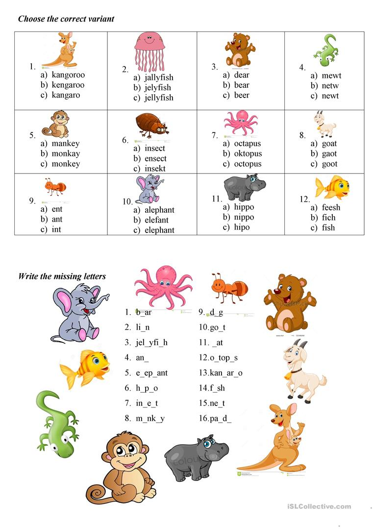 ABC animals practice   English ESL Worksheets for distance ...