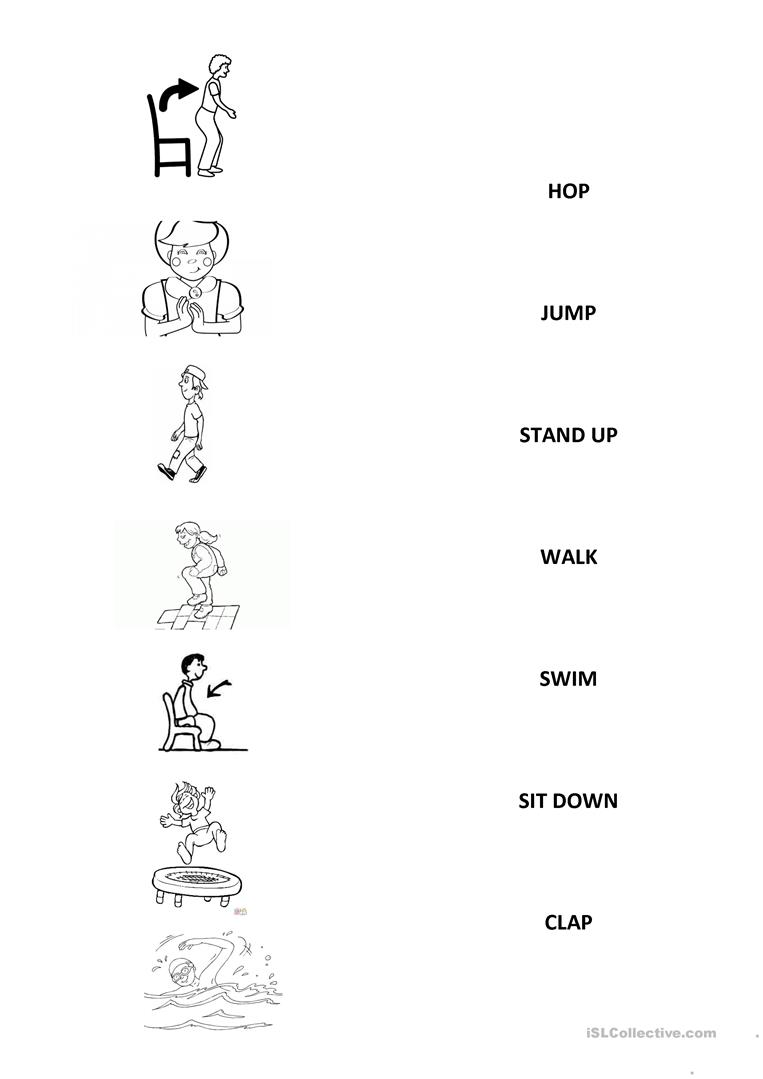 worksheet Swimming Worksheets 15 free esl swim worksheets actions jump clap hop walk sit down stand up