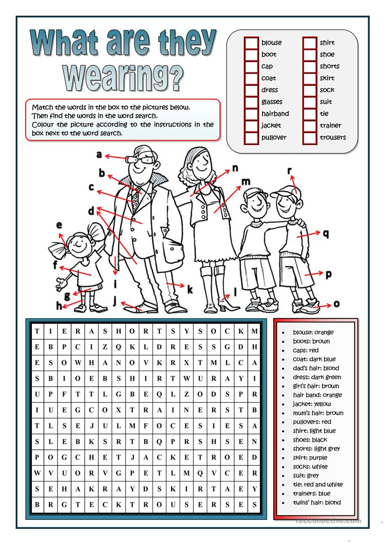 CLOTHES WORD SEARCH   English ESL Worksheets for distance learning ...
