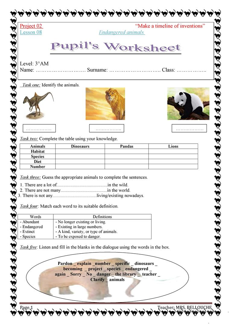 Worksheets Endangered Species Worksheets endangered animals worksheet free esl printable worksheets made by full screen