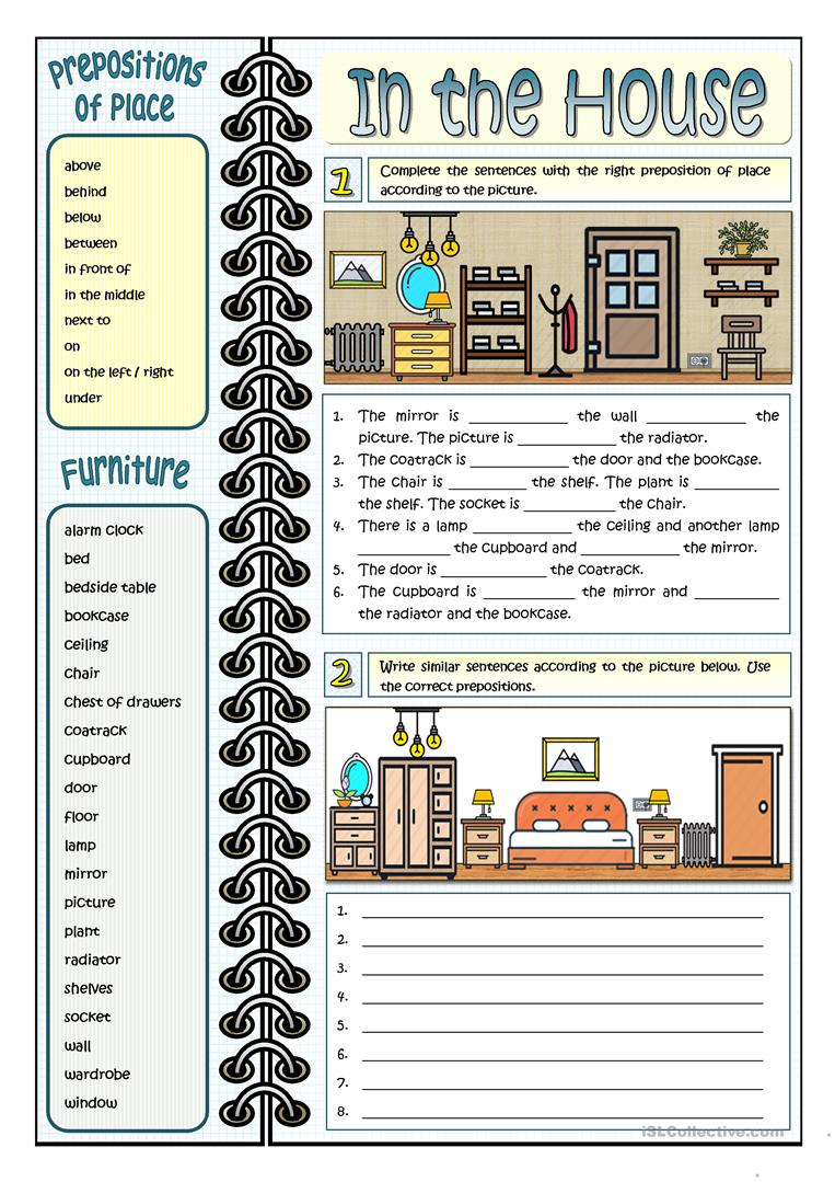 123 Free Esl Rooms In The House Worksheets