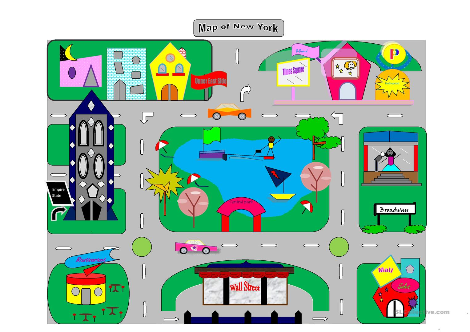 Map of New York City worksheet - Free ESL printable worksheets made Free Printable Map Of New York City on