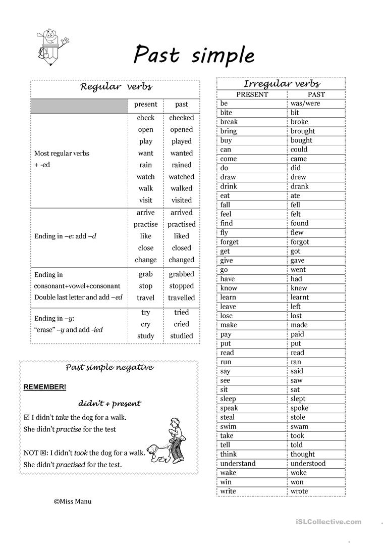 54 FREE ESL regular and irregular verbs worksheets