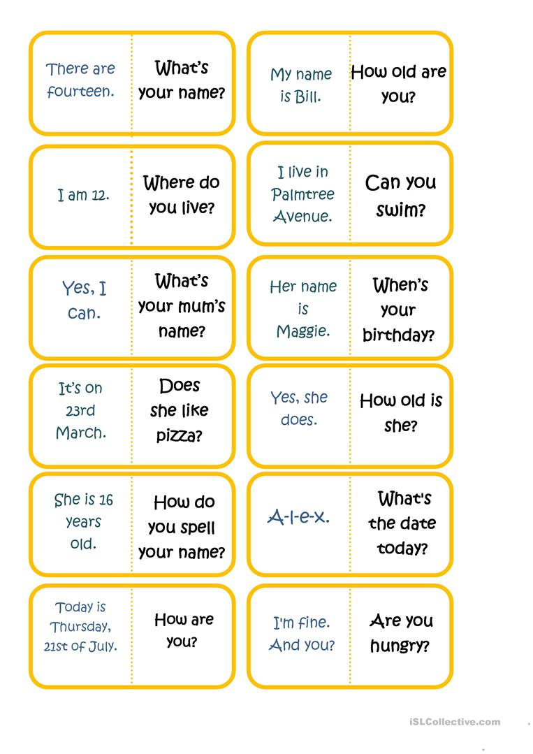 Questions and answers domino Part 1 worksheet - Free ESL printable